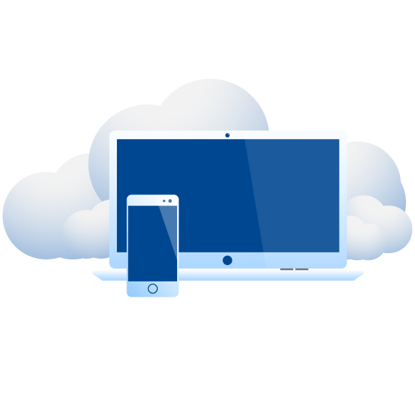 laptop and smartphone blue vector illustration with clouds